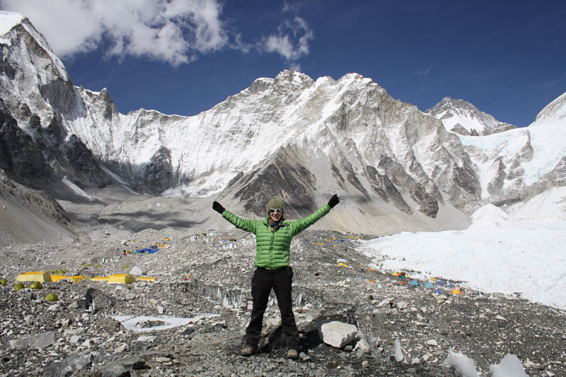 Chloe Knott at Everest Basecamp.