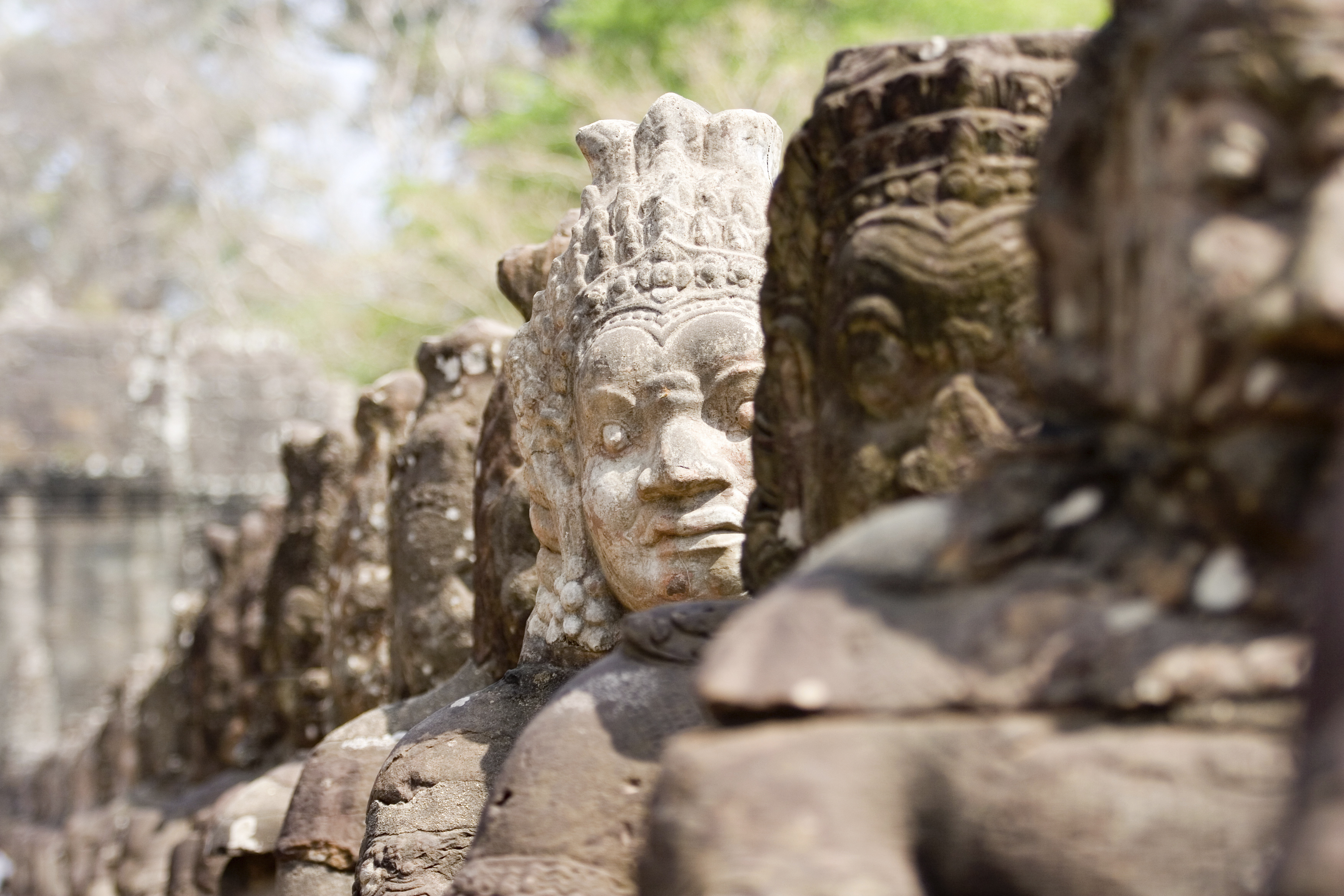 Statues in Angkor Wat temple complex in Cambodia