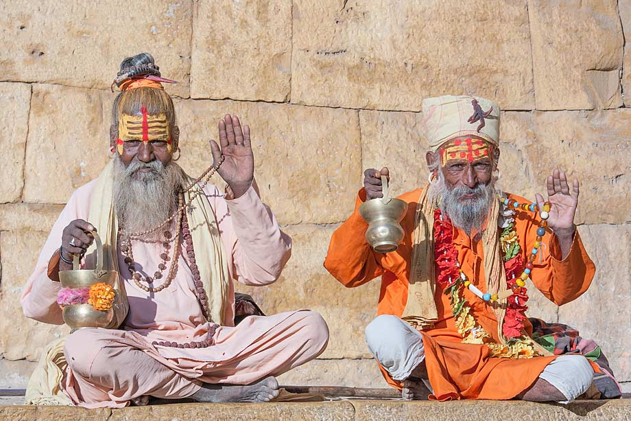 Hindu sadhu man sitting on the ghat