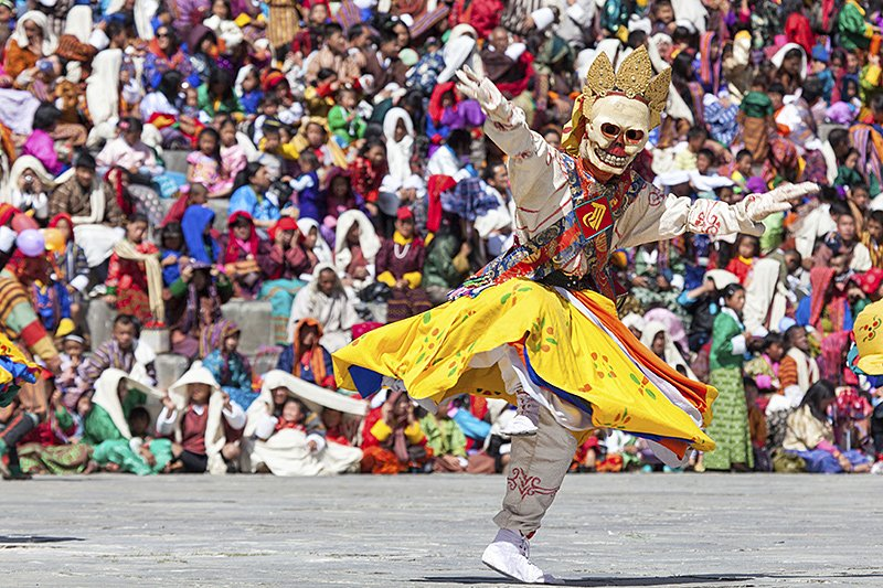 Traditional dance at festival in the Timphu Dzong