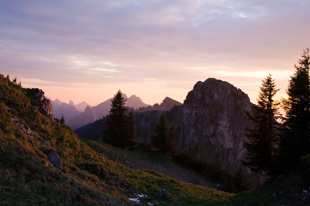 Alpine landscape at dusk