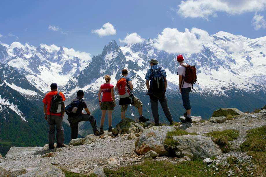 Trekkers on the Mont Blanc Circuit