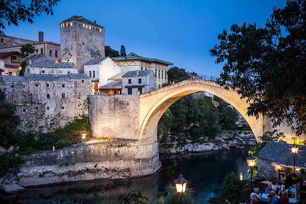 Mostar Bridge by night, Bosnia and Herzegovina