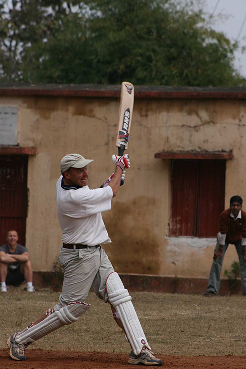 Paul Goldstein playing cricket