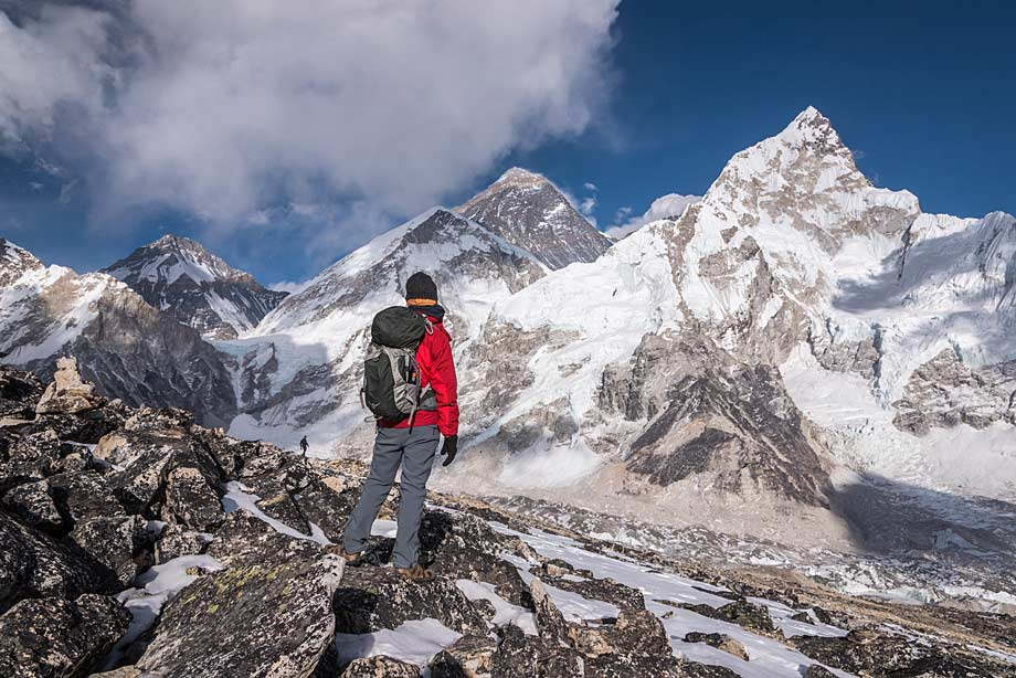 Trekker facing Everest