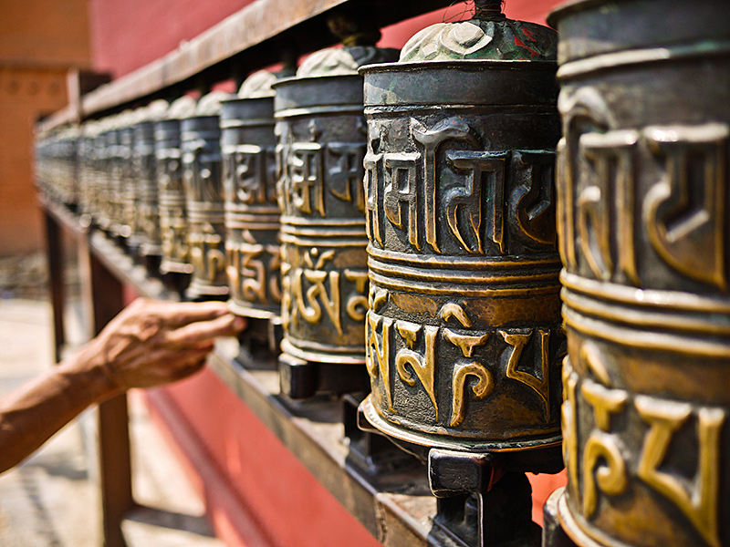 Nepalese prayer wheels, a common sight in the Himalaya