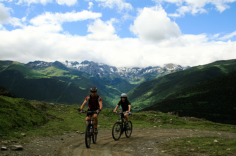 Kids cycling in the Pyrenees