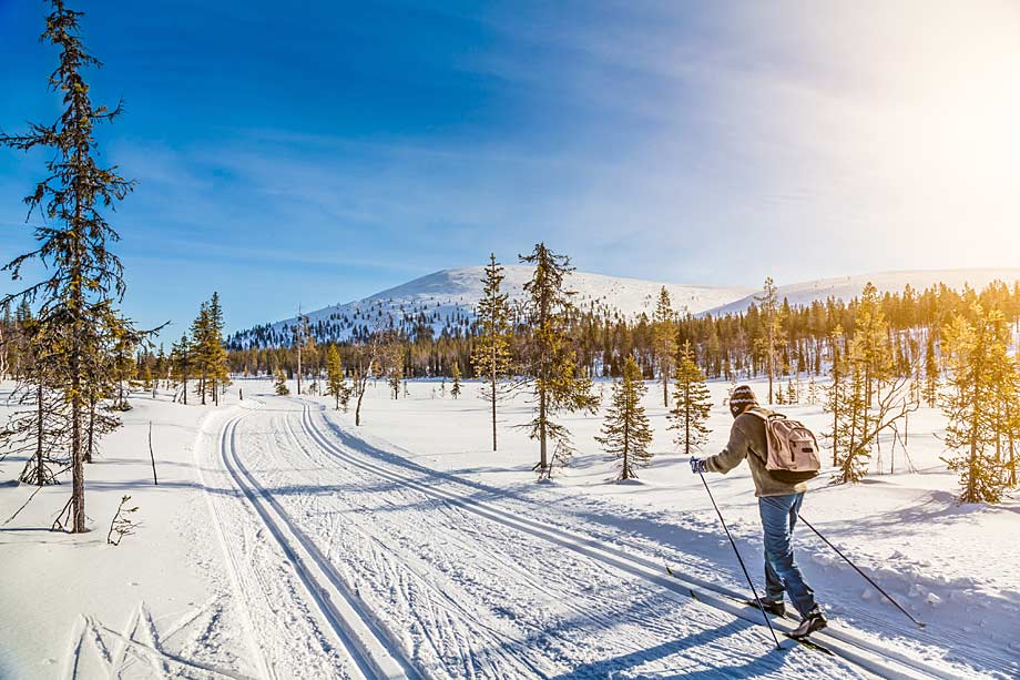 Skiing towards fell in Sweden