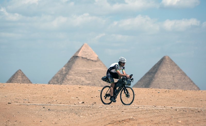 Mark Beaumont cycling through Egypt