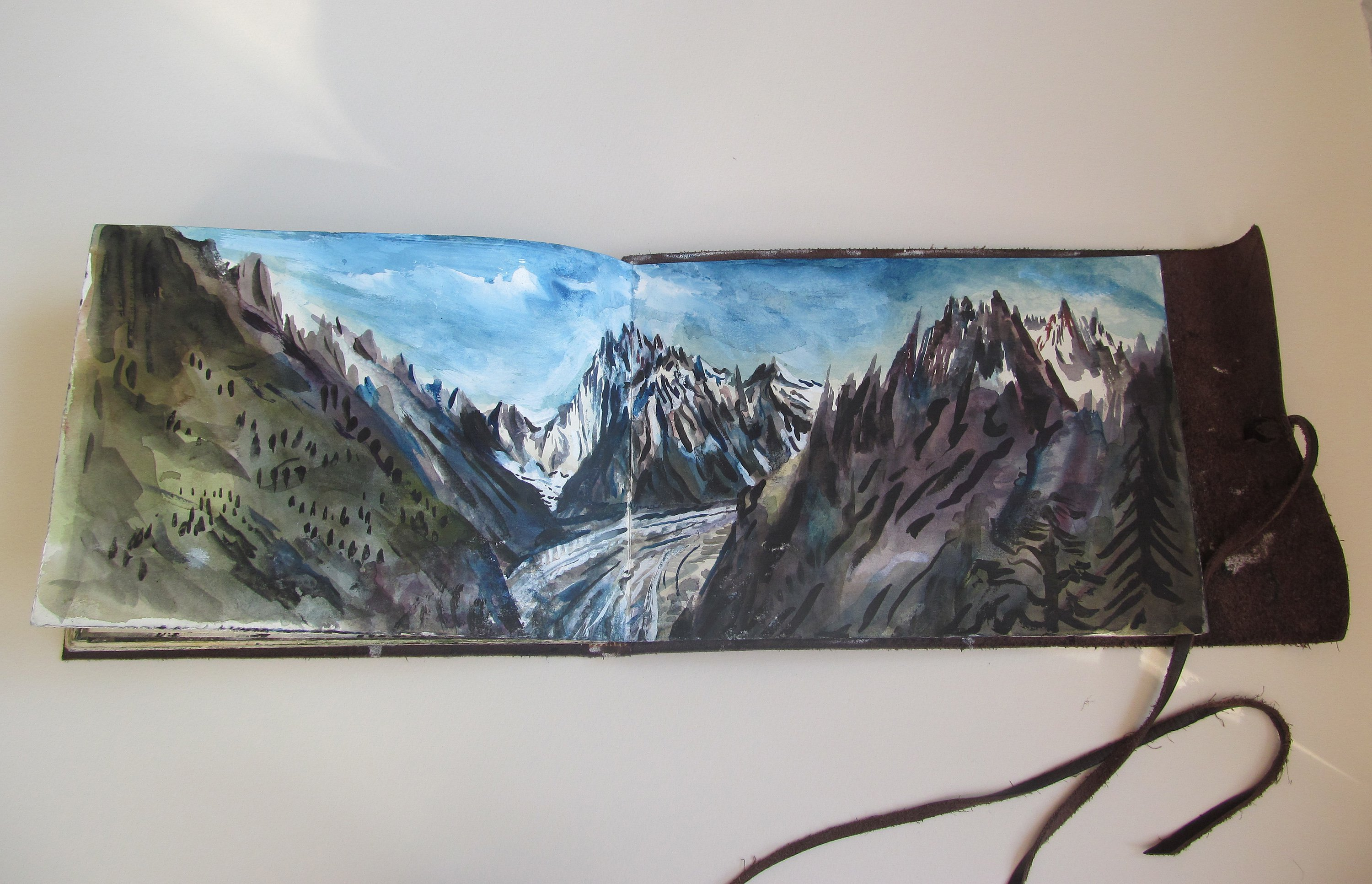 The Mer de Glace, painted at a lunch stop.