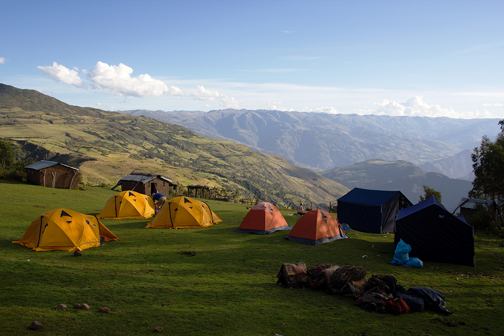 Campsite at Marcocasa on the High Inca Trail