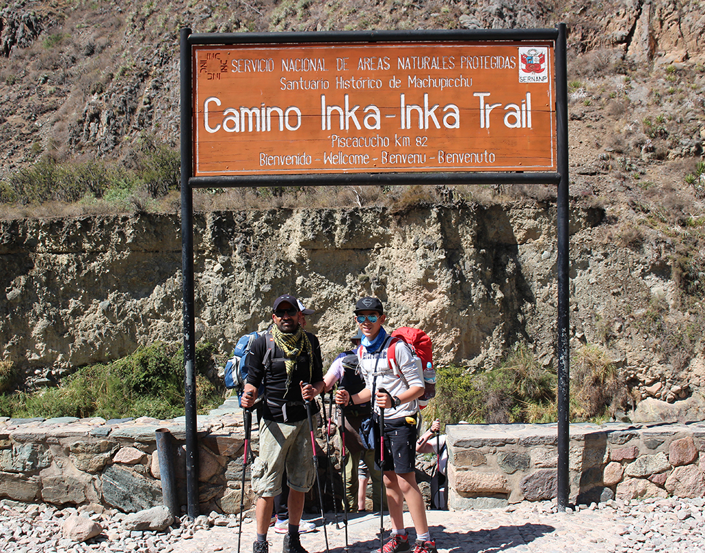 Imran and Hassan at the foot of the Inca Trail
