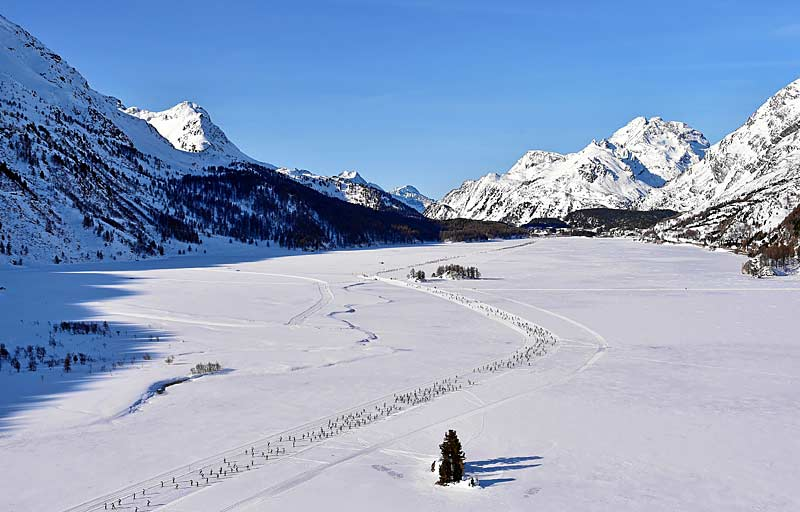 Skiers outside of Engadin