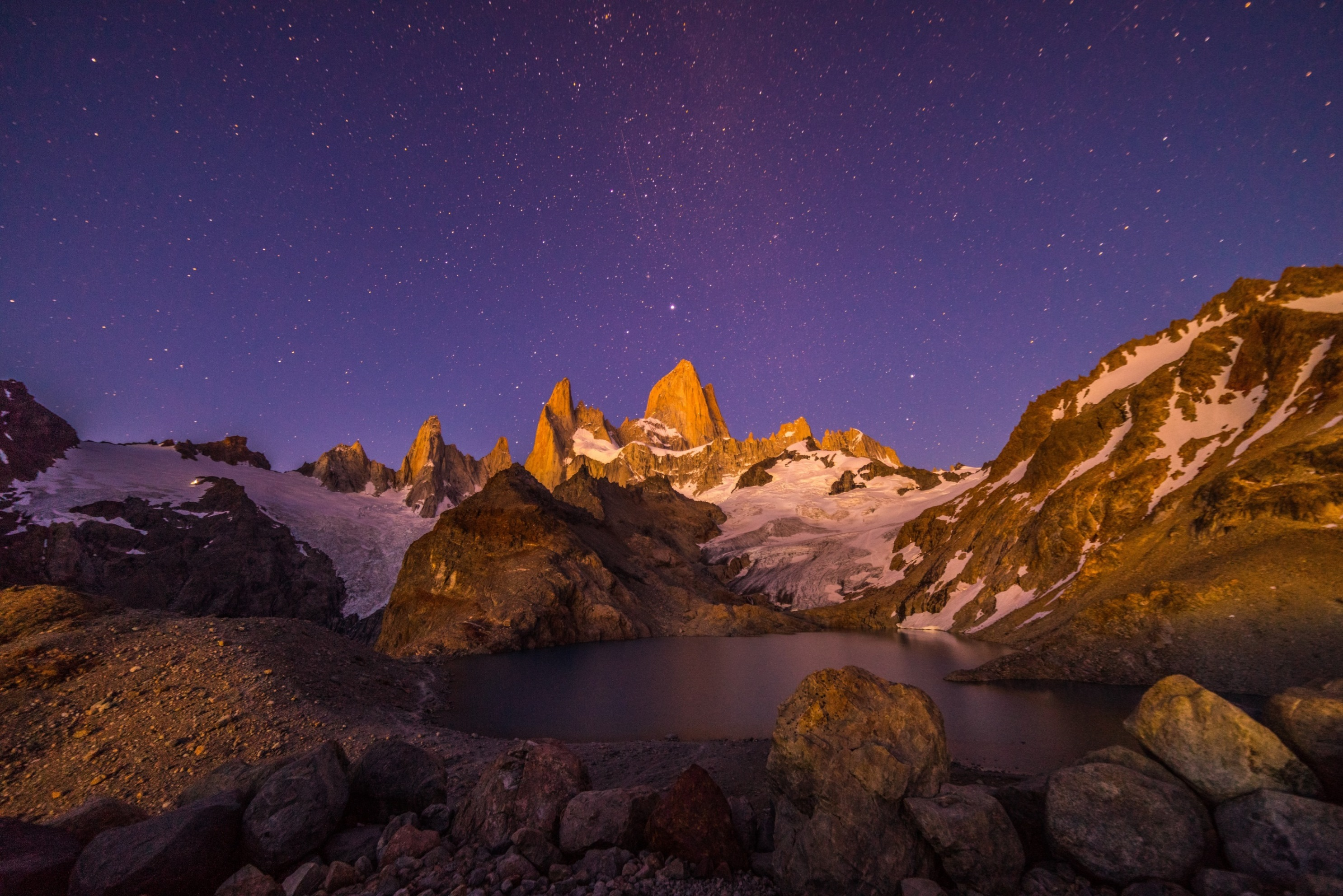 Starry sky over Mt Fitzroy in Torres del Paine National Park, Patagonia