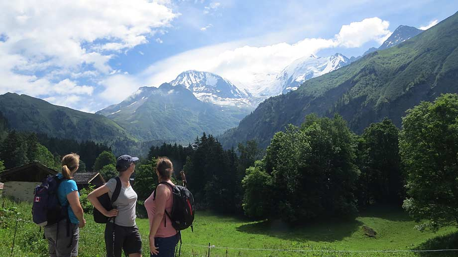 Trekkers on the Tour du Mont Blanc