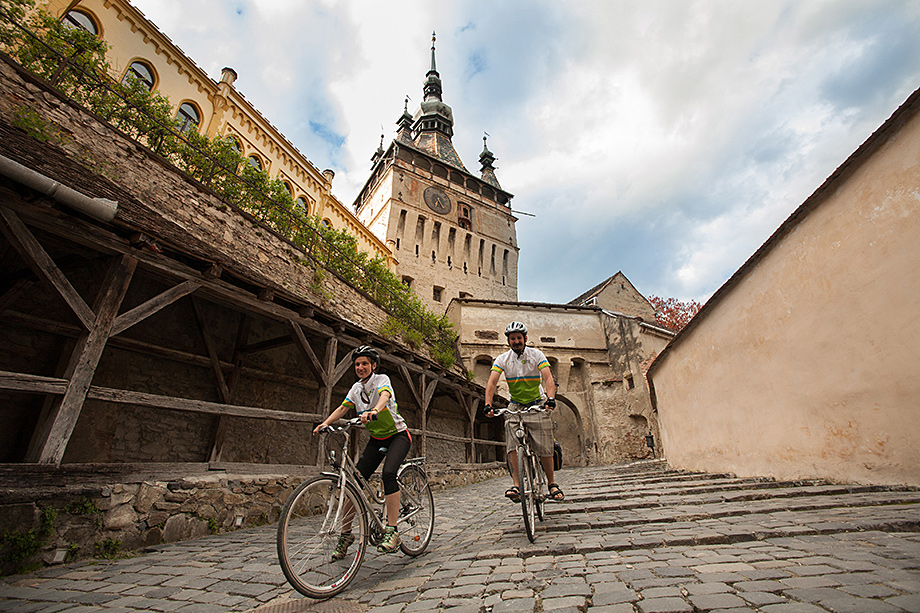 Cycling through Sighisoara citadel