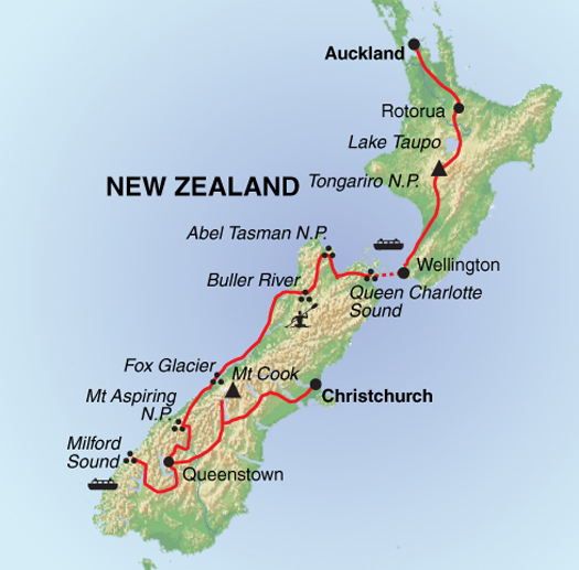 Southern Alps New Zealand Map.Trails Of New Zealand Guardian Holidays