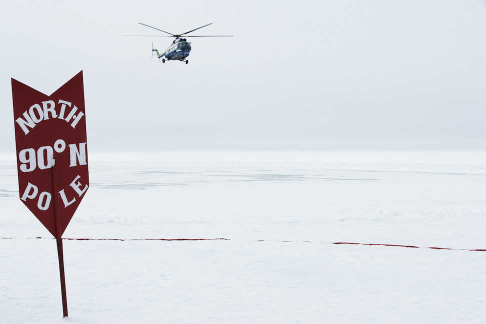 Helicopter over the North Pole