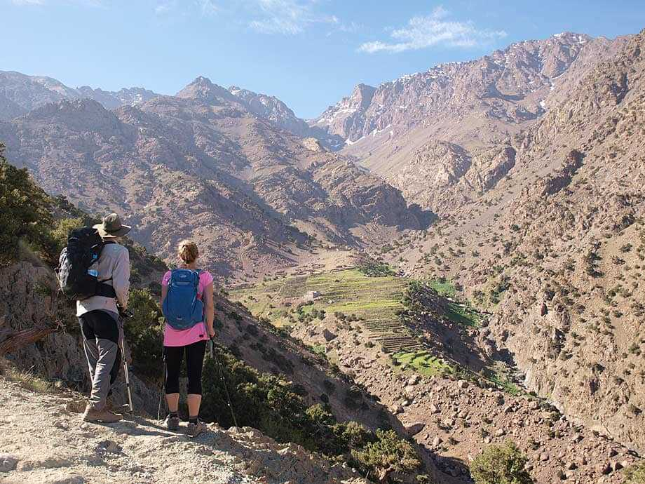 Trekkers in the Atlas Mountains