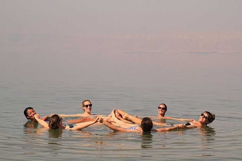 Floating in the salty waters of the Dead Sea