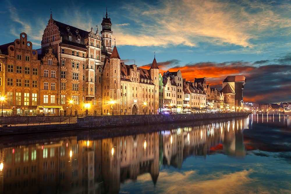 Riverside with the characteristic Crane of Gdansk, Poland