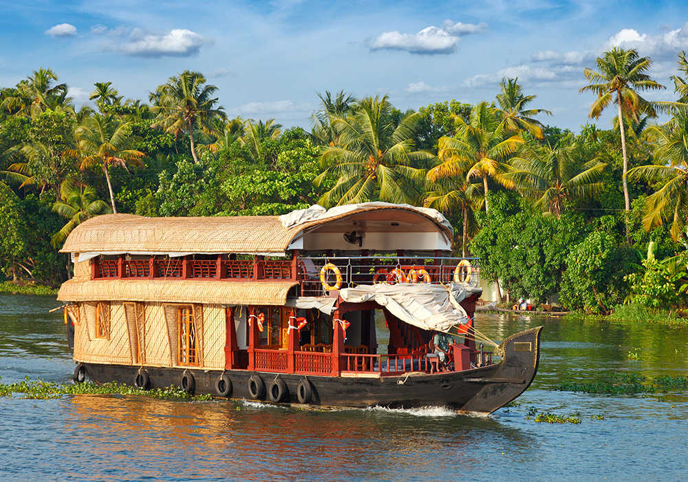 Panorama of houseboat on Kerala backwaters. Kerala, India.