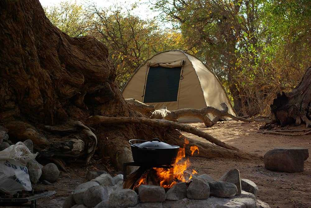 Camping in the African wilderness