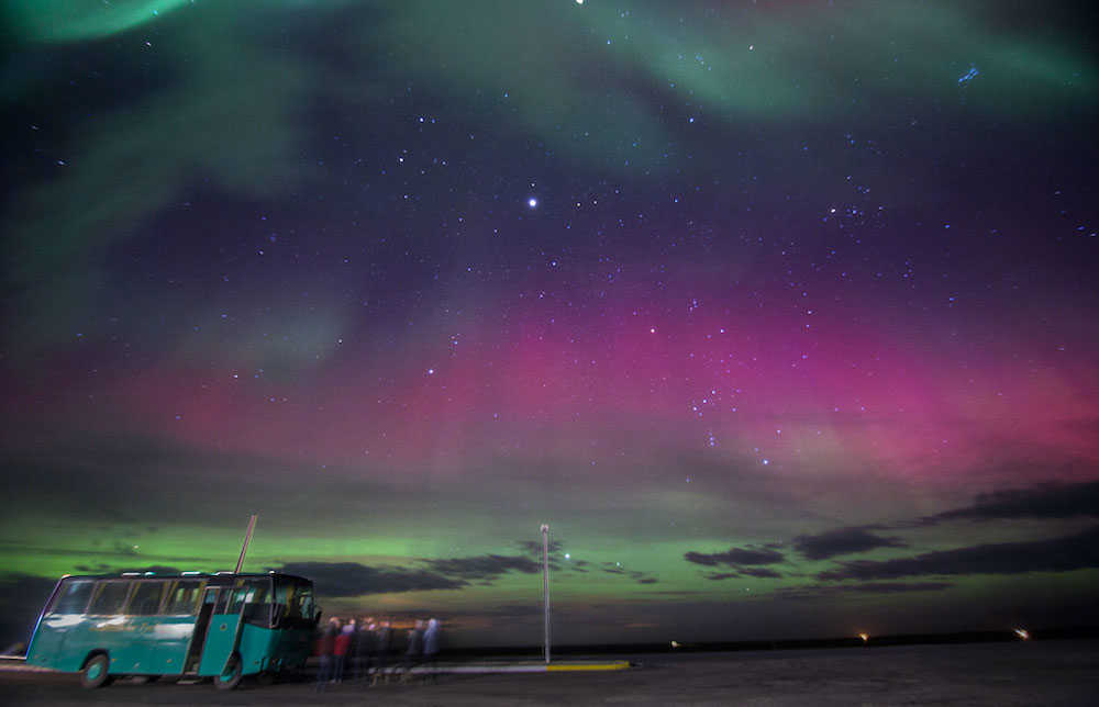 Northern Lights and tour bus