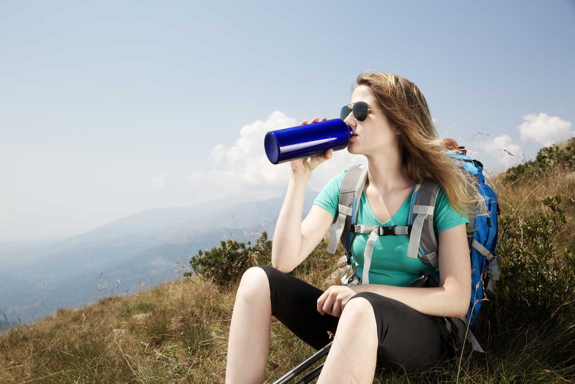 traveller drinking water
