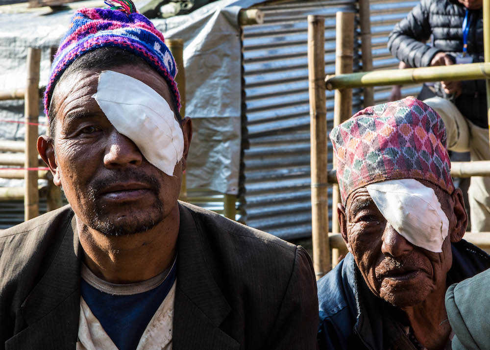 Two men after their cataract operations
