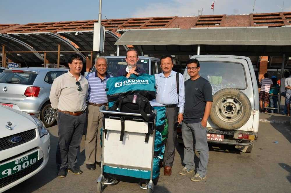 Pete arrives in Kathmandu with several kit bags full of emergency supplies