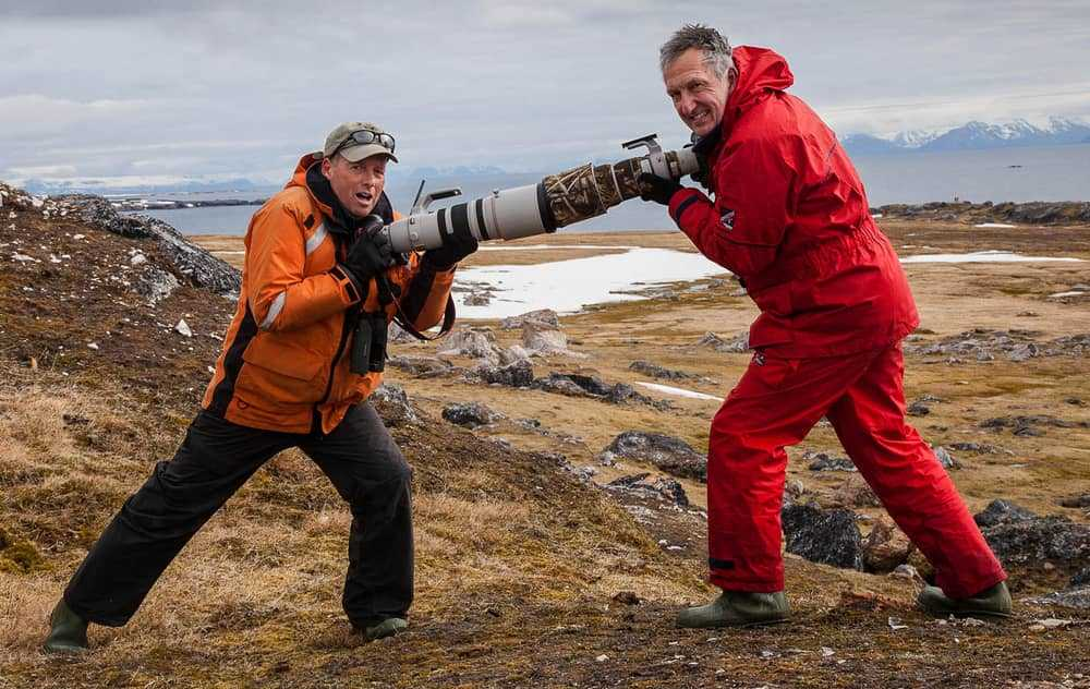 Paul Goldstein and Mark Carwardine in Spitsbergen