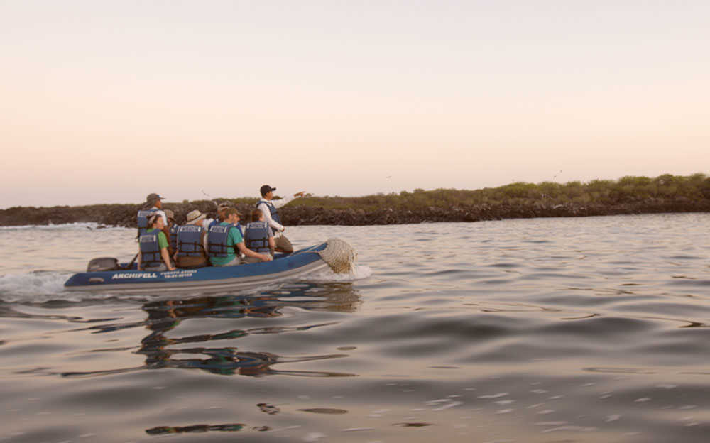 People on Speed Boat in the Galapagos