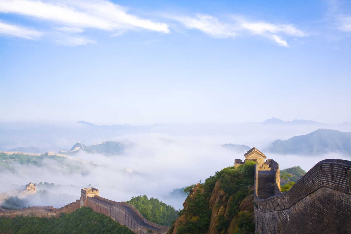 Great wall of China in fog