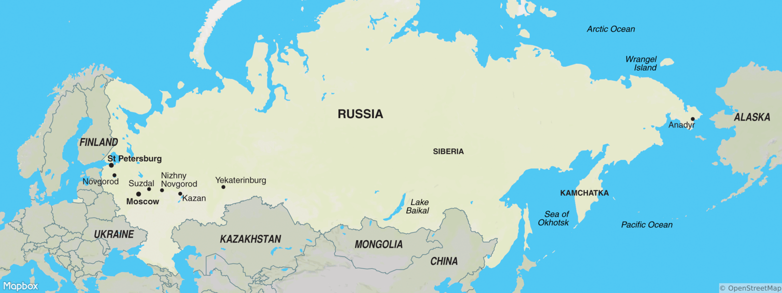 Excursion tours - Russia, Finland, Italy, Norway, China, USA: a selection of sites