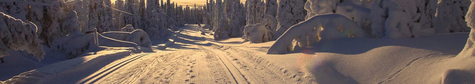Finland snowy landscape with the sun rising