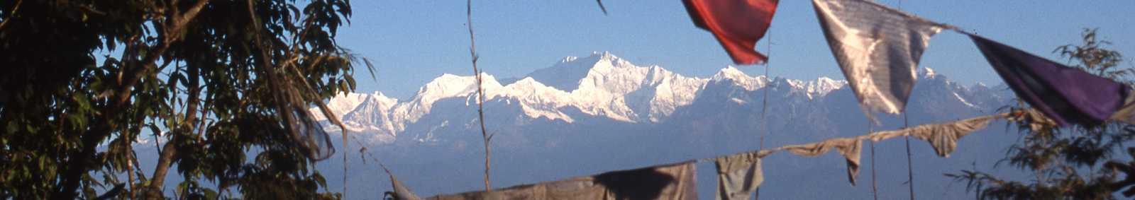 Kanchenjunga and prayer flags from Darjeeling, India