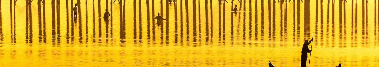 Sunset in U Bein bridge, Myanmar (Burma)