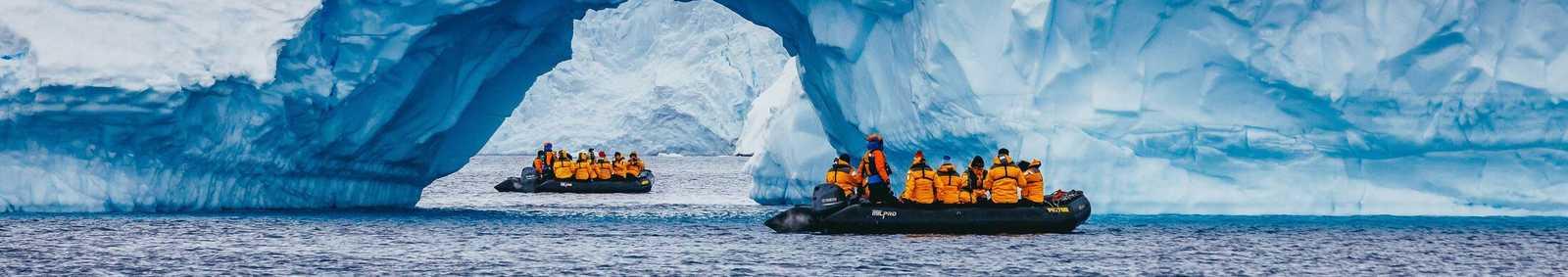 zodiac boats and iceberg