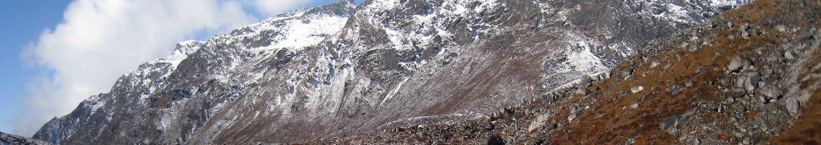 Samiti Lake and mountains, Sikkim Kanchenjunga trek, India