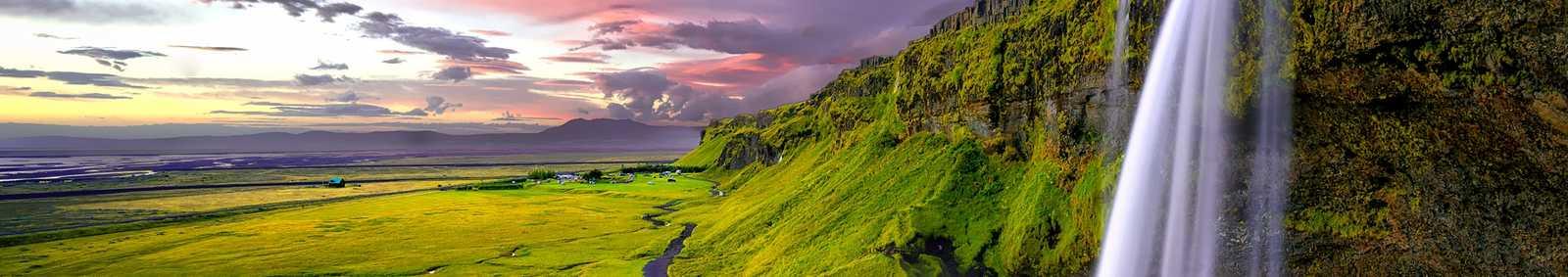 Iceland Midnight Sun Waterfall