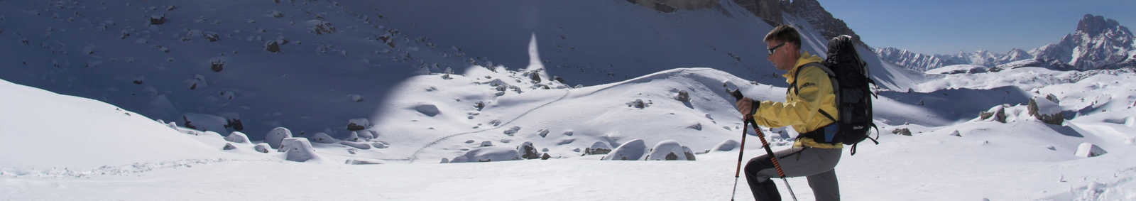 showshoeing in Dolomites