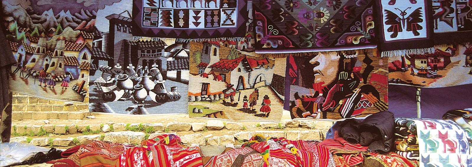 Weavings and paintings for sale, Chiapas