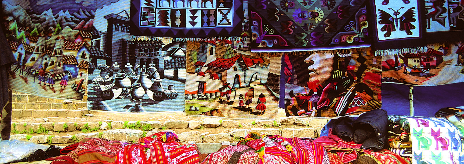 Weavings and paintings for sale, Chiapas
