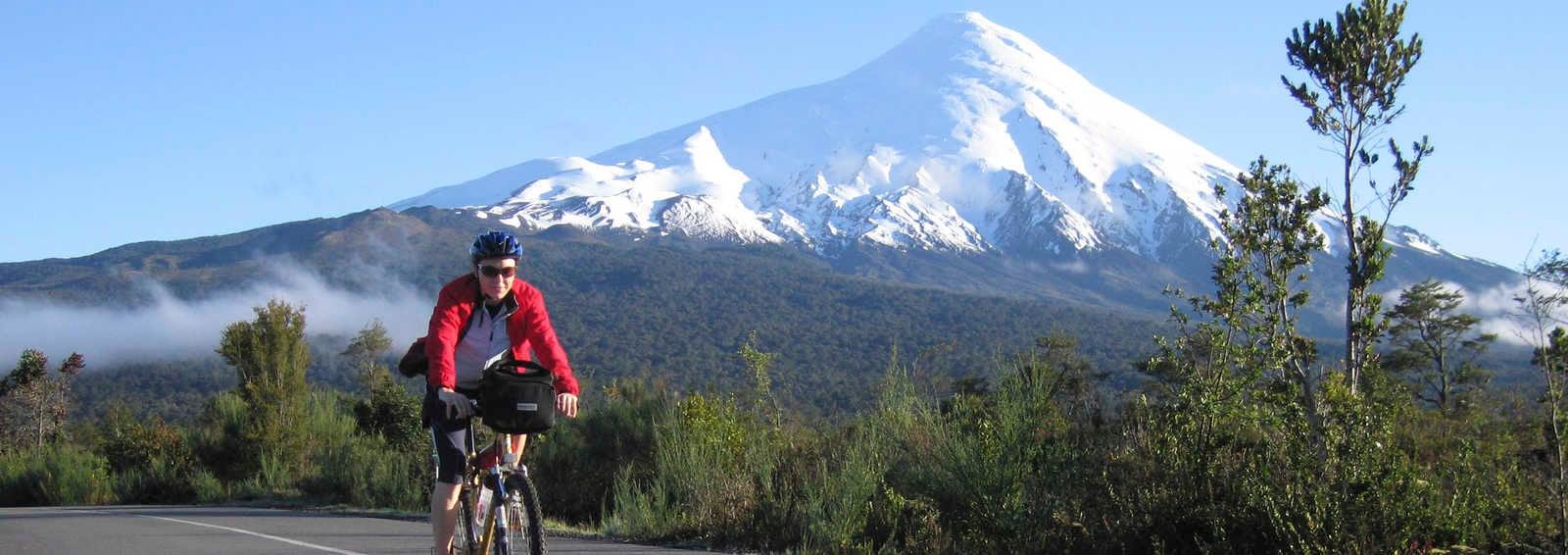 Cyclist and Osorno Volcano, Chile