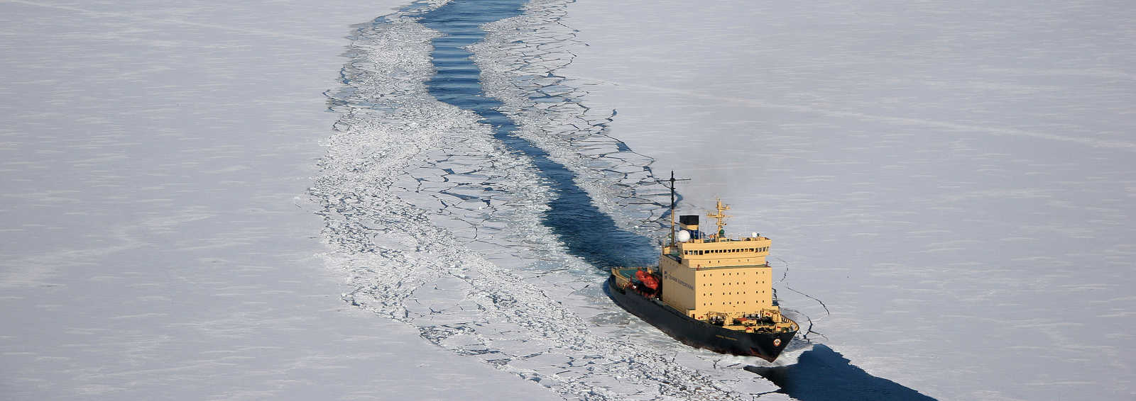 Ploughing through the ice on the icebreaker 50years of Victory