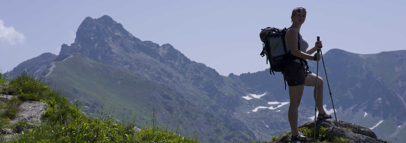 Hiker on the top of the mountain, Poland