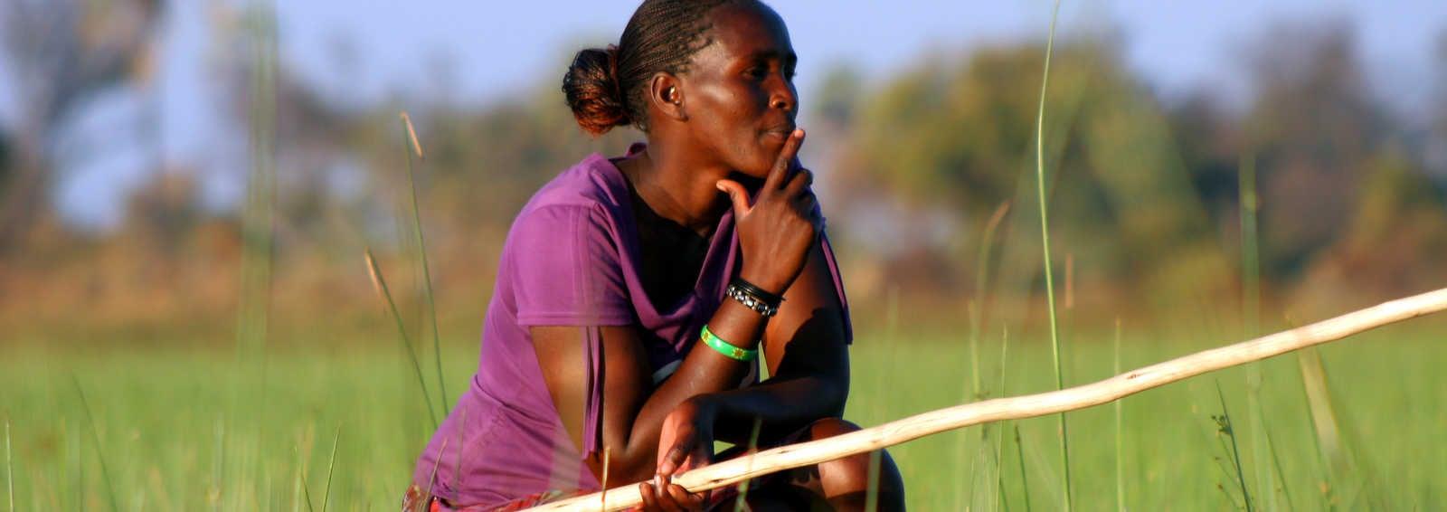 The Okavango Delta by dugout canoe.