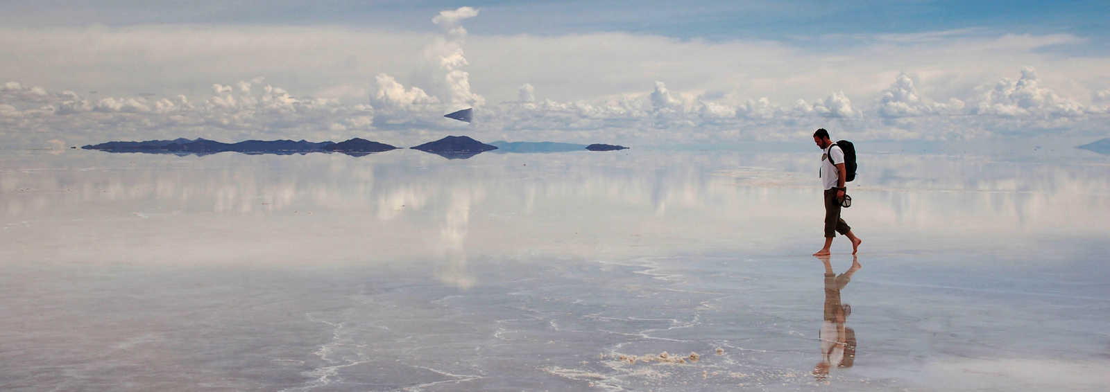 Walking over the reflective surface of the Uyuni Salt Flats, Bolivia