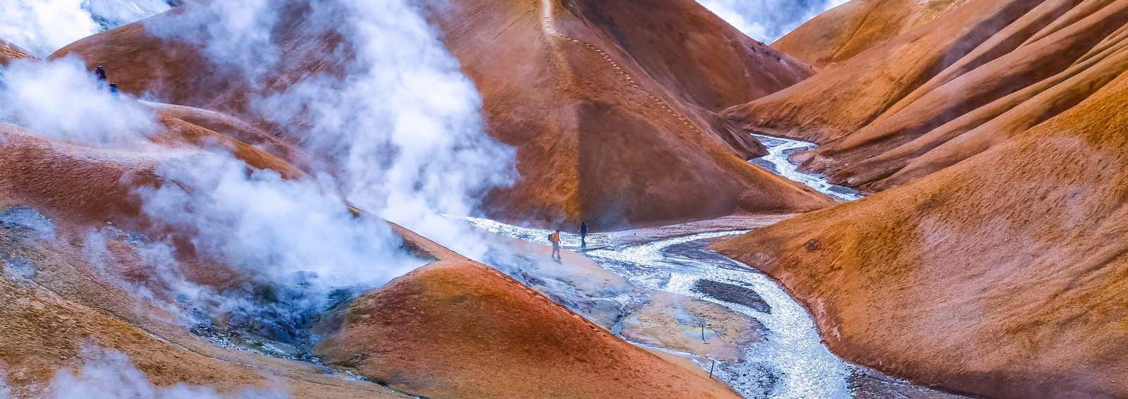 Geothermal smoking field with people, Kerlingafjoll